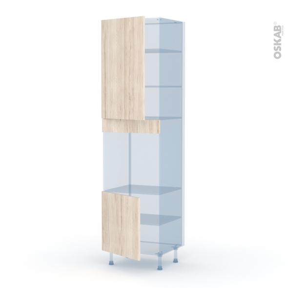 IKORO Chêne Clair - Kit Rénovation 18 - Colonne Four N°1624 - 2 portes - L60xH217xP60