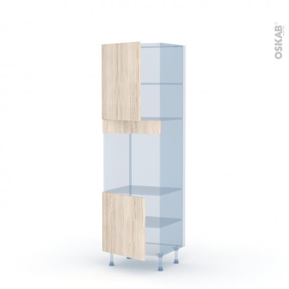 IKORO Chêne Clair - Kit Rénovation 18 - Colonne Four niche 60 N°2116 - 2 portes - L60xH195xP60