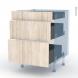 IKORO Chêne Clair - Kit Rénovation 18 - Meuble casserolier  - 3 tiroirs - L60xH70xP60