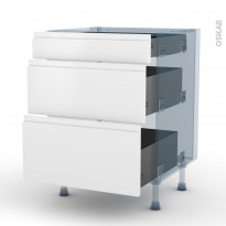 IPOMA Blanc mat - Kit Rénovation 18 - Meuble casserolier  - 3 tiroirs - L60xH70xP60