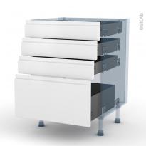 IPOMA Blanc mat - Kit Rénovation 18 - Meuble casserolier  - 4 tiroirs - L60xH70xP60