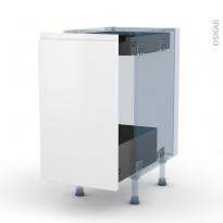 IPOMA Blanc mat - Kit Rénovation 18 - Meuble bas coulissant  - 1 porte-1 tiroir anglaise - L40xH70xP60