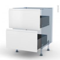 IPOMA Blanc mat - Kit Rénovation 18 - Meuble casserolier  - 2 tiroirs - L60xH70xP60
