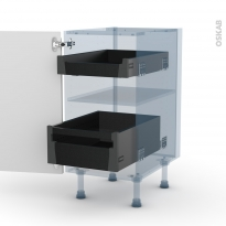 IPOMA Blanc mat - Kit Rénovation 18 - Meuble bas - 2 tiroirs à l'anglaise - L40xH70xP60