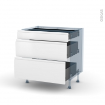 IPOMA Blanc mat - Kit Rénovation 18 - Meuble casserolier - 3 tiroirs - L80xH70xP60