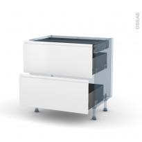 IPOMA Blanc mat - Kit Rénovation 18 - Meuble casserolier - 2 tiroirs - 1 tiroir anglaise - L80xH70xP60