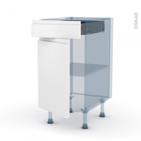 IPOMA Blanc mat - Kit Rénovation 18 - Meuble bas cuisine  - 1 porte 1 tiroir - L40xH70xP60