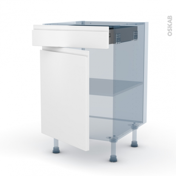 IPOMA Blanc mat - Kit Rénovation 18 - Meuble bas cuisine  - 1 porte 1 tiroir - L50xH70xP60