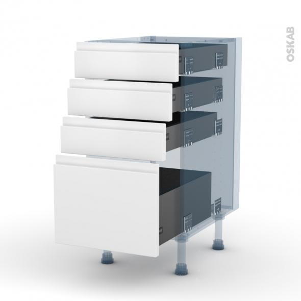IPOMA Blanc mat - Kit Rénovation 18 - Meuble casserolier  - 4 tiroirs - L40xH70xP60