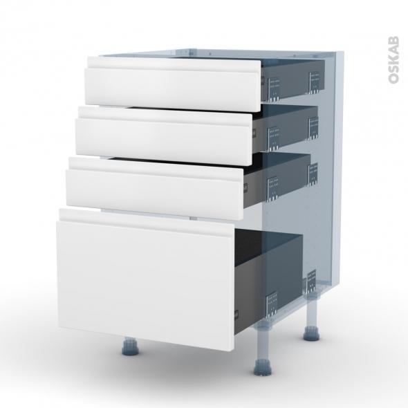 IPOMA Blanc mat - Kit Rénovation 18 - Meuble casserolier  - 4 tiroirs - L50xH70xP60