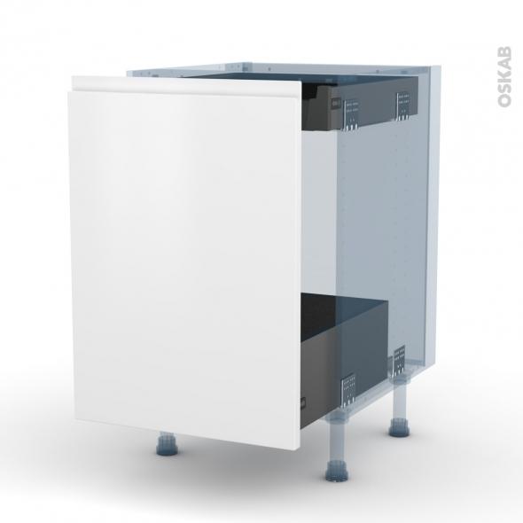 IPOMA Blanc mat - Kit Rénovation 18 - Meuble bas coulissant  - 1 porte -1 tiroir anglaise - L50xH70xP60