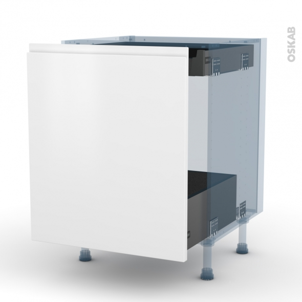 IPOMA Blanc mat - Kit Rénovation 18 - Meuble bas coulissant  - 1 porte -1 tiroir anglaise - L60xH70xP60