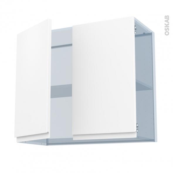 IPOMA Blanc mat - Kit Rénovation 18 - Meuble haut ouvrant H70  - 2 portes - L80xH70xP37,5