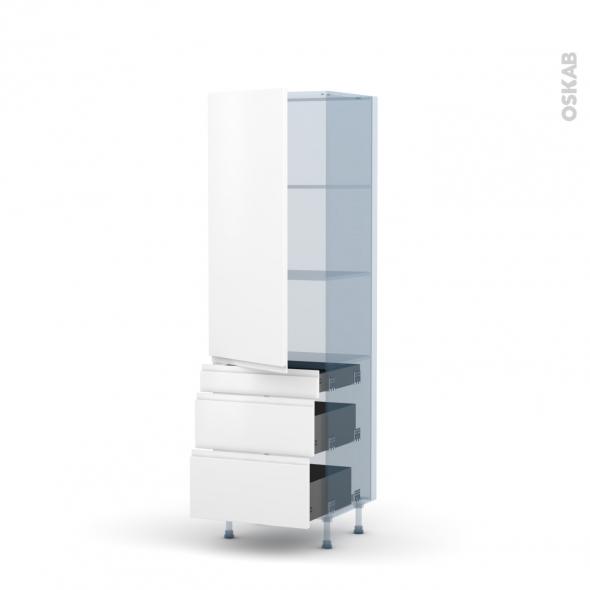 IPOMA Blanc mat - Kit Rénovation 18 - Armoire étagère N°2758  - 3 tiroirs casserolier - L60xH195xP60