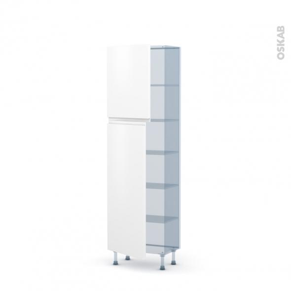 IPOMA Blanc mat - Kit Rénovation 18 - Armoire étagère N°2127   - Prof.37  2 portes - L60xH195xP37,5