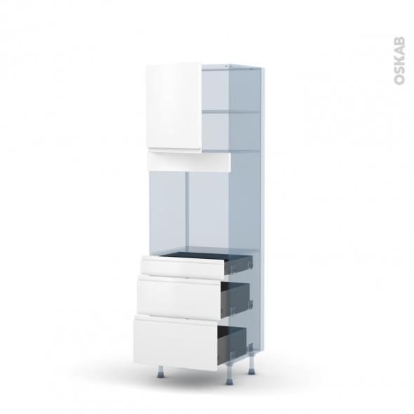 IPOMA Blanc mat - Kit Rénovation 18 - Colonne Four N°1658  - 1 porte 3 tiroirs - L60xH195xP60