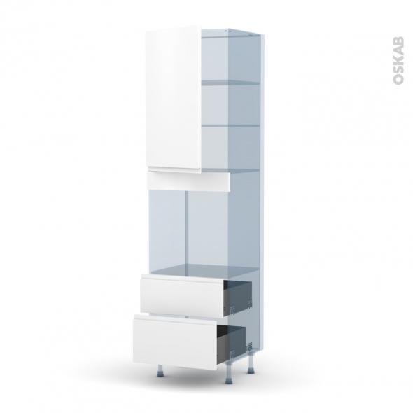 IPOMA Blanc mat - Kit Rénovation 18 - Colonne Four N°2458  - 1 porte 2 casseroliers - L60xH217xP60
