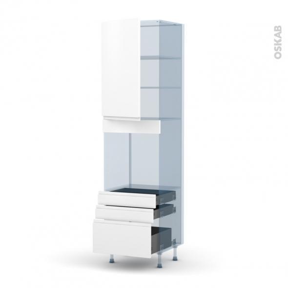 IPOMA Blanc mat - Kit Rénovation 18 - Colonne Four N°2459  - 1 porte 3 tiroirs - L60xH217xP60