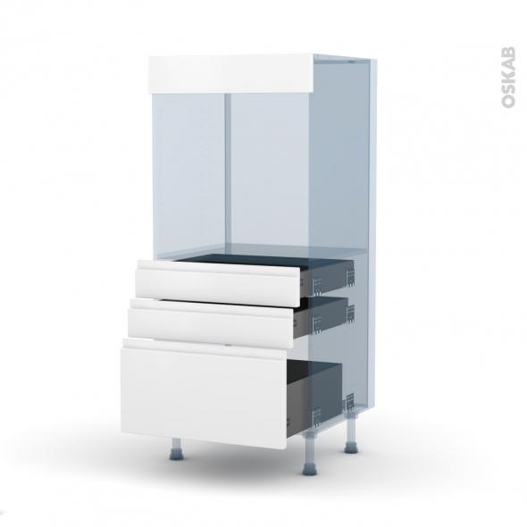 IPOMA Blanc mat - Kit Rénovation 18 - Colonne Four N°59  - 3 tiroirs - L60xH125xP60
