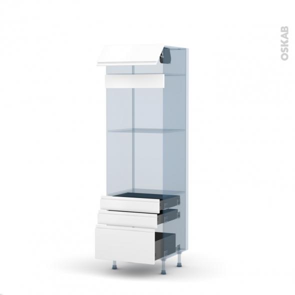 IPOMA Blanc mat - Kit Rénovation 18 - Colonne Four+MO 45 N°559  - 1 abattant 3 tiroirs - L60xH195xP60