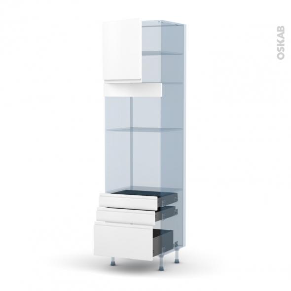 IPOMA Blanc mat - Kit Rénovation 18 - Colonne Four+MO 36/38 N°1659  - 1 porte 3 tiroirs - L60xH217xP60