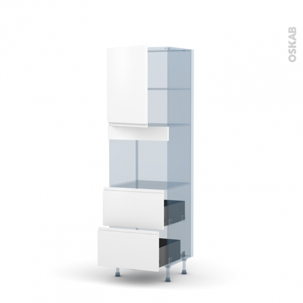 IPOMA Blanc mat - Kit Rénovation 18 - Colonne Four niche 45 N°2157  - 1 porte 2 casseroliers - L60xH195xP60