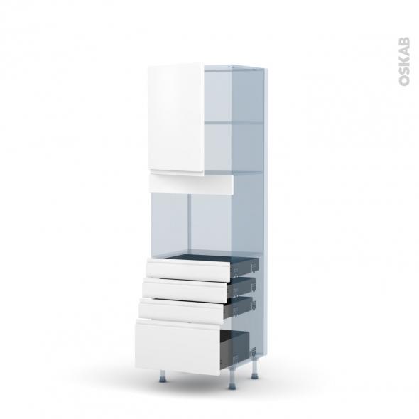 IPOMA Blanc mat - Kit Rénovation 18 - Colonne Four niche 45 N°2159  - 1 porte 4 tiroirs - L60xH195xP60