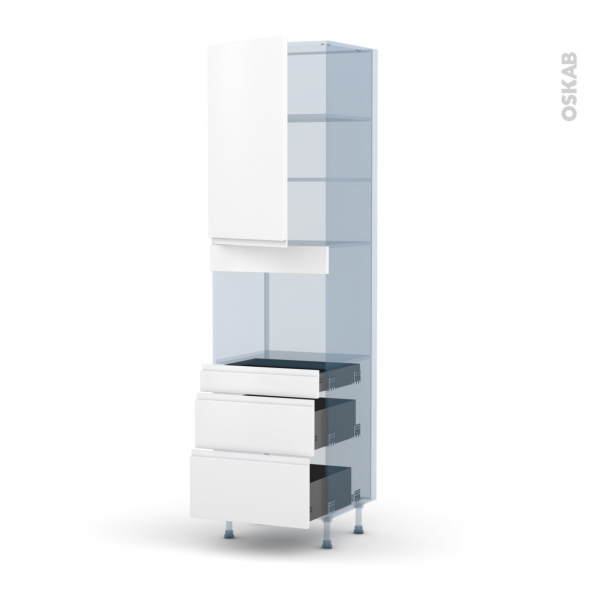 IPOMA Blanc mat - Kit Rénovation 18 - Colonne Four niche 45 N°2458  - 1 porte 3 tiroirs - L60xH217xP60