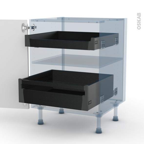 IPOMA Blanc mat - Kit Rénovation 18 - Meuble bas - 2 tiroirs à l'anglaise - L60xH70xP60