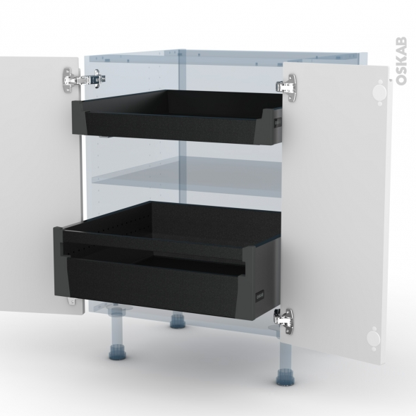 IPOMA Blanc mat - Kit Rénovation 18 - Meuble bas - 2 portes - 2 tiroirs à l'anglaise - L60xH70xP60