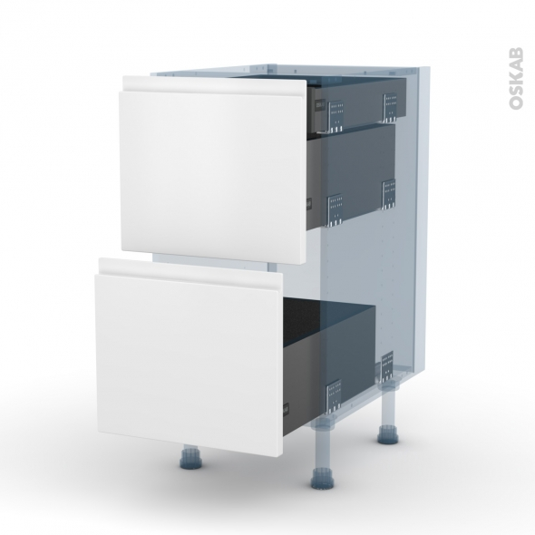 IPOMA Blanc mat - Kit Rénovation 18 - Meuble casserolier - 2 tiroirs-1 tiroir anglaise - L40xH70xP60