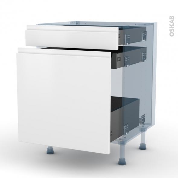 IPOMA Blanc mat - Kit Rénovation 18 - Meuble range épice - 3 tiroirs - L60xH70xP60