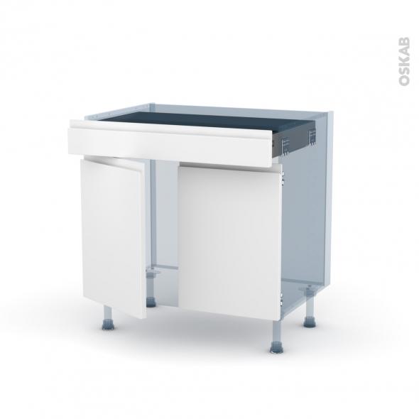 IPOMA Blanc mat - Kit Rénovation 18 - Meuble bas cuisine  - 2 portes 1 tiroir - L80xH70xP60