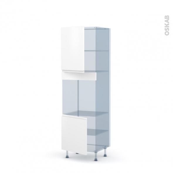 IPOMA Blanc mat - Kit Rénovation 18 - Colonne Four niche 60 N°2116 - 2 portes - L60xH195xP60