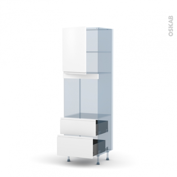 IPOMA Blanc mat - Kit Rénovation 18 - Colonne Four niche 60 N°2158 - 1 porte 2 casseroliers - L60xH195xP60