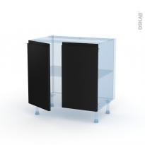 Ipoma Noir mat - Kit Rénovation 18 - Meuble bas cuisine  - 2 portes - L80xH70xP60