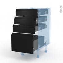 Ipoma Noir mat - Kit Rénovation 18 - Meuble casserolier  - 4 tiroirs - L40xH70xP60