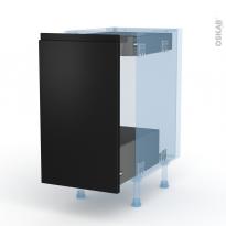 Ipoma Noir mat - Kit Rénovation 18 - Meuble bas coulissant  - 1 porte-1 tiroir anglaise - L40xH70xP60