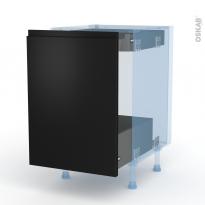 Ipoma Noir mat - Kit Rénovation 18 - Meuble bas coulissant  - 1 porte -1 tiroir anglaise - L50xH70xP60