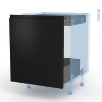 Ipoma Noir mat - Kit Rénovation 18 - Meuble bas coulissant  - 1 porte -1 tiroir anglaise - L60xH70xP60