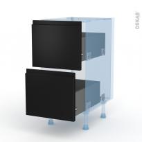 Ipoma Noir mat - Kit Rénovation 18 - Meuble casserolier  - 2 tiroirs - L40xH70xP60