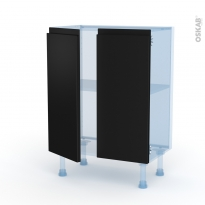 Ipoma Noir mat - Kit Rénovation 18 - Meuble bas prof.37 - 2 portes - L60xH70xP37,5