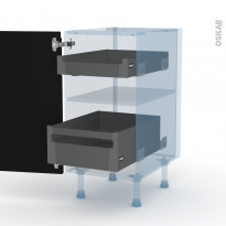 Ipoma Noir mat - Kit Rénovation 18 - Meuble bas - 2 tiroirs à l'anglaise - L40xH70xP60
