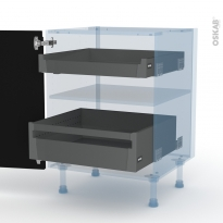 Ipoma Noir mat - Kit Rénovation 18 - Meuble bas - 2 tiroirs à l'anglaise - L60xH70xP60