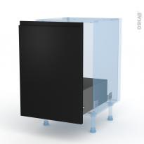 Ipoma Noir mat - Kit Rénovation 18 - Meuble sous-évier  - 1 porte coulissante - L50xH70xP60