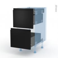 Ipoma Noir mat - Kit Rénovation 18 - Meuble casserolier - 2 tiroirs-1 tiroir anglaise - L40xH70xP60