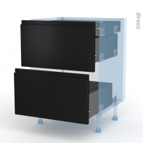 Ipoma Noir mat - Kit Rénovation 18 - Meuble casserolier - 2 tiroirs-1 tiroir anglaise - L60xH70xP60
