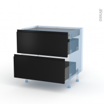 Ipoma Noir mat - Kit Rénovation 18 - Meuble casserolier - 2 tiroirs - 1 tiroir anglaise - L80xH70xP60