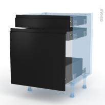 Ipoma Noir mat - Kit Rénovation 18 - Meuble range épice - 3 tiroirs - L60xH70xP60
