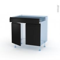 Ipoma Noir mat - Kit Rénovation 18 - Meuble bas cuisine  - 2 portes 1 tiroir - L80xH70xP60